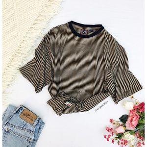 🌿 Vintage Tan Striped Retro Boyfriend Tee 🌿